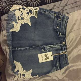 Laced Denim Skirt
