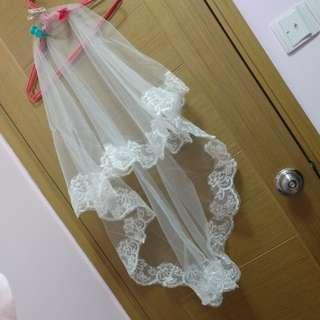 結婚 婚紗 頭紗 1.5米長