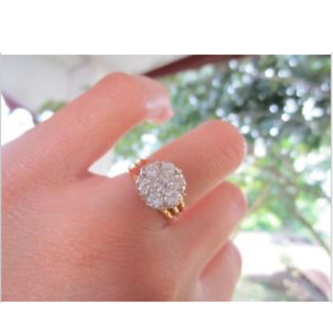 4.00 Carat Face Illusion Diamond Twotone Gold Ring 14k, Preloved ...