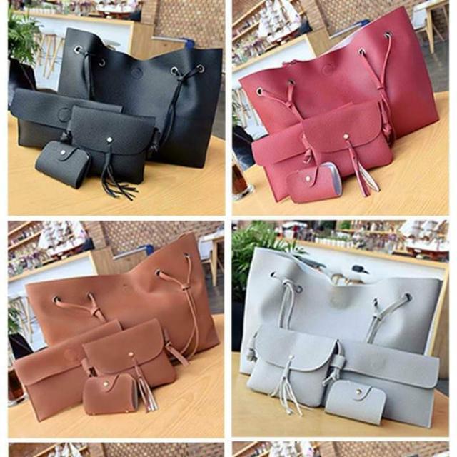 4 in 1 Leather Tote Shoulder Bag
