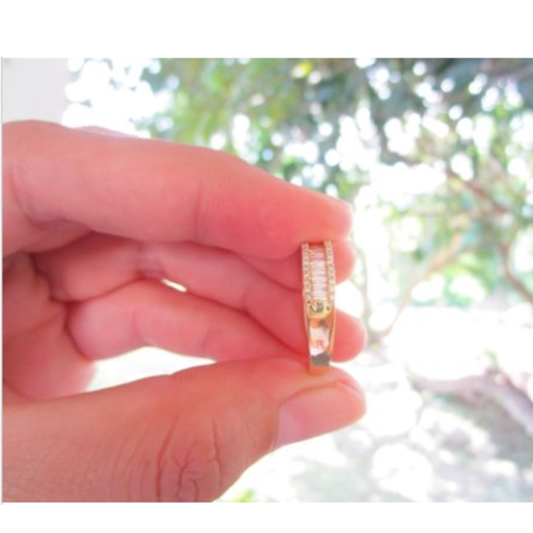 89 Carat Diamond Yellow Gold Half Eternity Ring 18k, Preloved ...