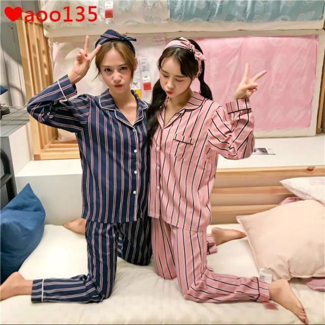 條紋長袖成套睡衣(含髮帶)