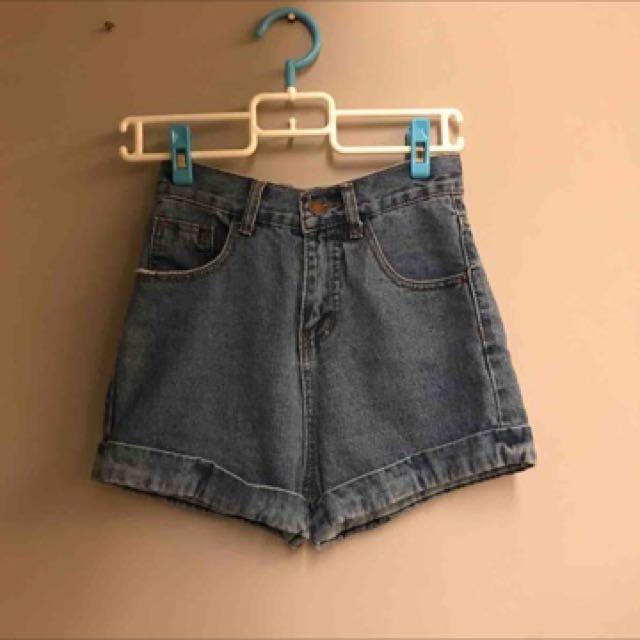 韓版高腰捲邊牛仔褲#兩百元丹寧