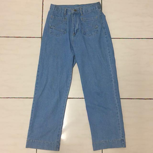 高腰牛仔寬褲