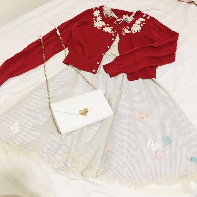 日本森林系日系蕾絲刺繡花朵珍珠短版針織外套
