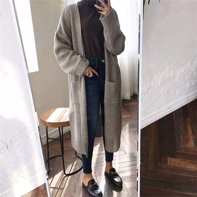 韓版寬鬆蝙蝠袖針織開襟外套