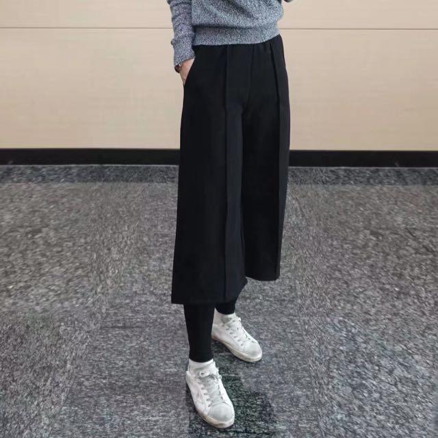 韓國秋冬款假兩件式微刷毛絨感褲