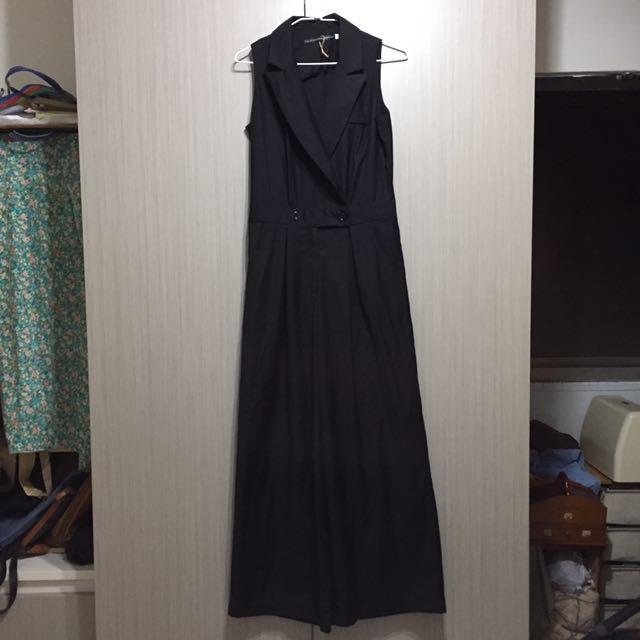 韓國復古古著簡約俐落黑色帥氣西裝背心連身寬褲落地褲