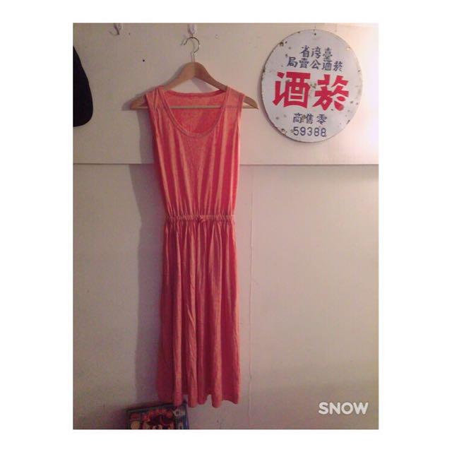 粉橘仙氣長洋裝裙