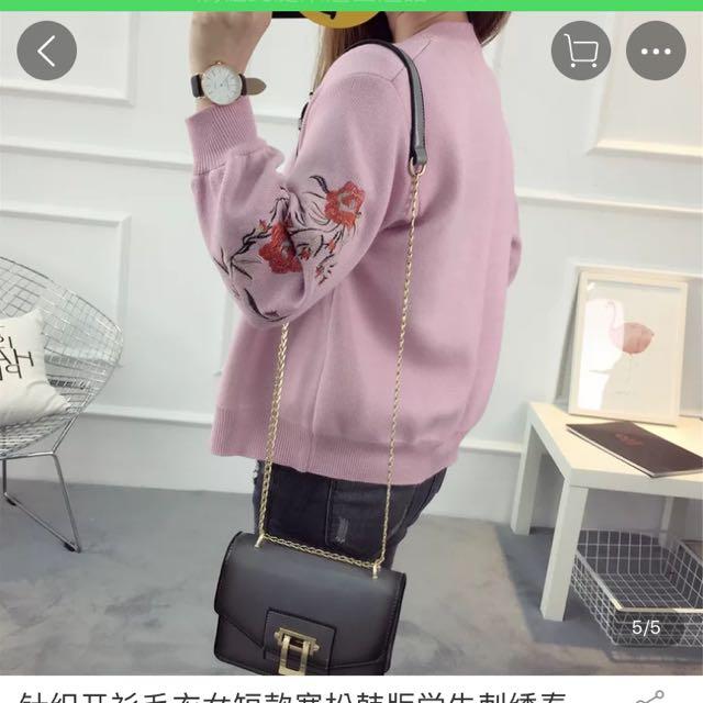 粉色刺繡棒球外套
