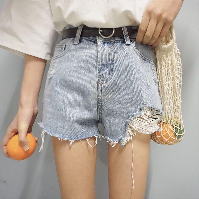 刷破淺色牛仔短褲 #兩百元丹寧