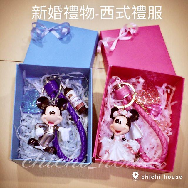 手工客製化皮繩鑰匙圈-米奇 米妮 情侶新婚禮物 新品