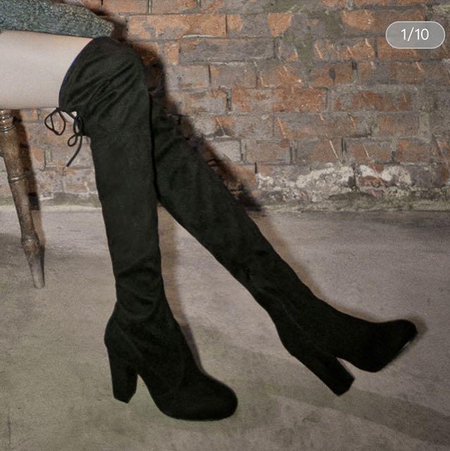 全新 amai超顯瘦後綁帶麂皮高跟膝上靴