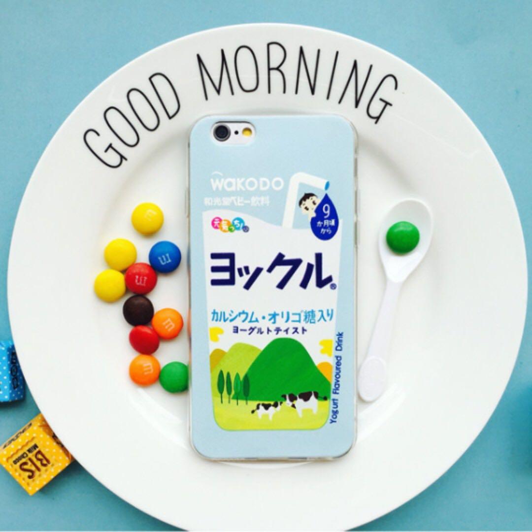 預購 日系牛奶iPhone6,6S/6plus,6splus/7/7plus手機全包透明浮彫軟殼 附霧面透明掛繩