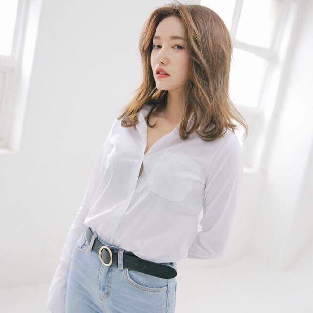 正韓 Stylenanda微喇叭袖質感白色彈性襯衫