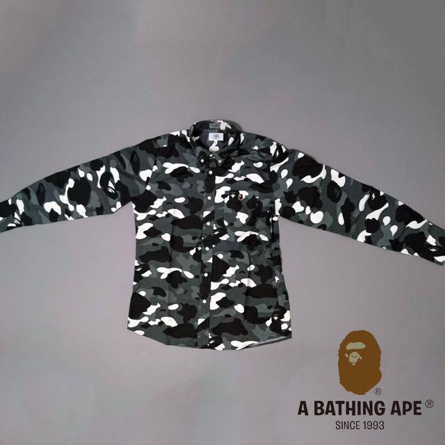 A bathing ape 長袖迷彩襯衫 M 絕對正版