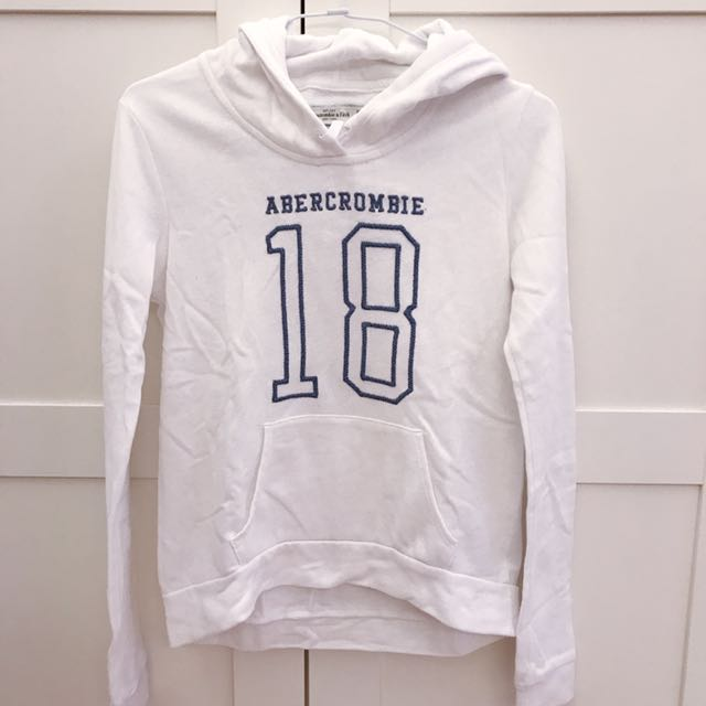 Abercrombie&fitch hoodie 白色帽T