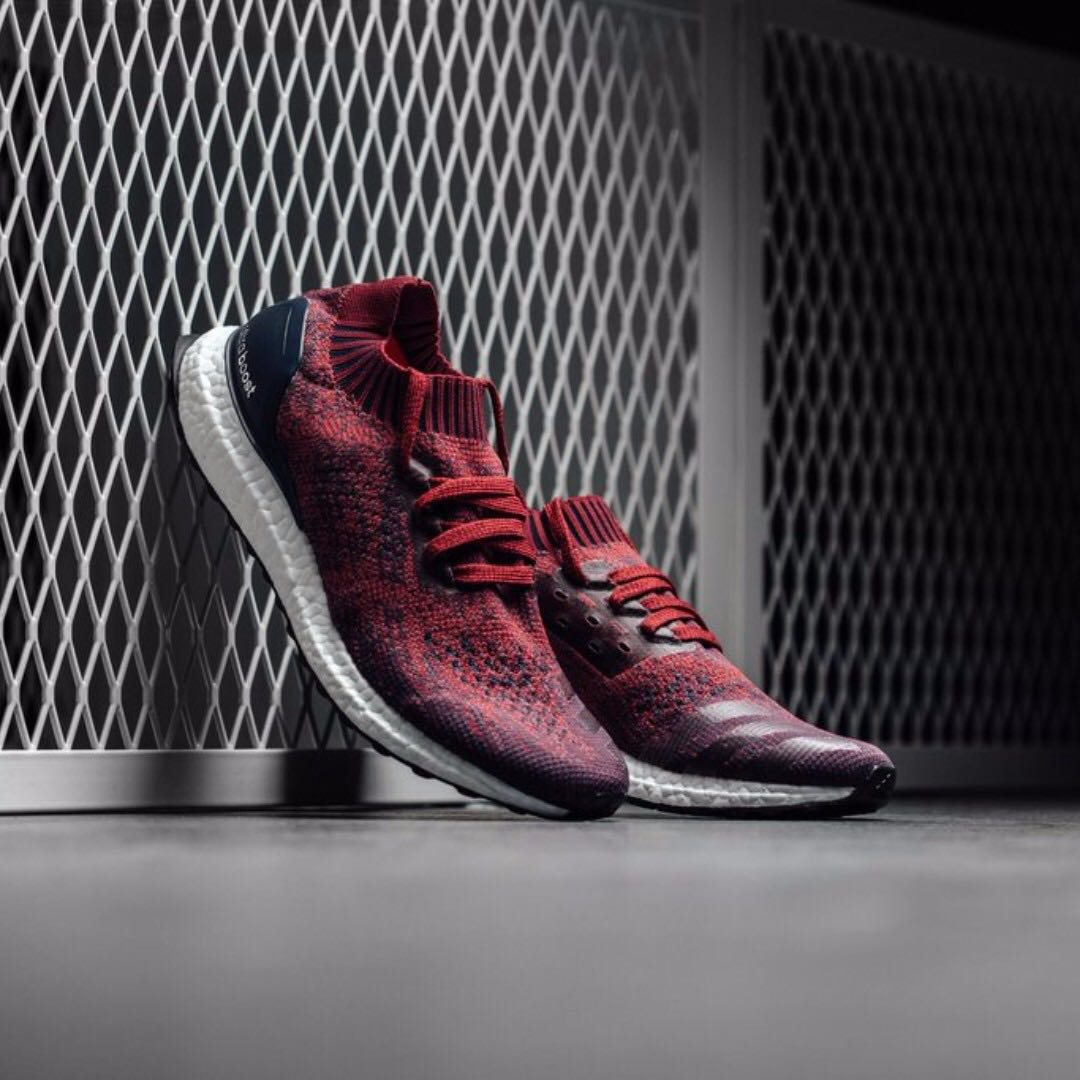 700f8ebf34a78 ADIDAS ULTRA BOOST UNCAGED MYSTERY RED   BURGUNDY