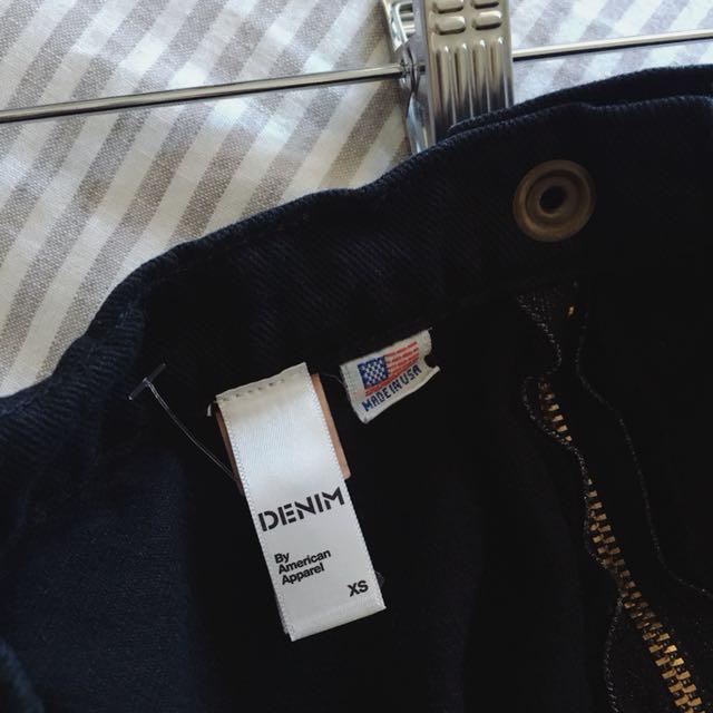 American Apparel Denim Circle Skirt, Black, XS