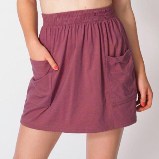 American Apparel Purple Jersey Pocket Skirt L