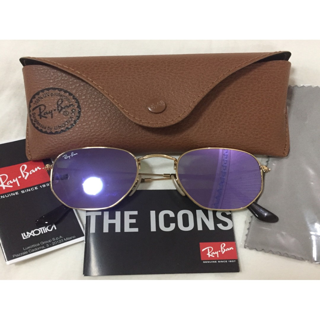 fdda817f02 Authentic Ray-ban Hexagonal Flat Lenses (Lilac Mirror) (Original ...