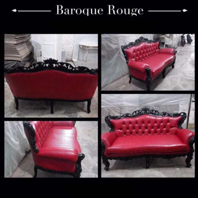 Barouque Rouge Sofa Red Black Furniture Sofas On Carousell