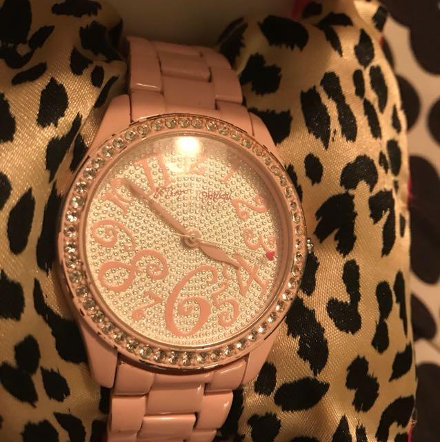 Betsey Johnson watches pink studded diamonds