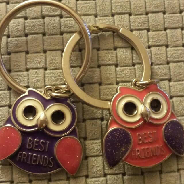Bff owl keychains