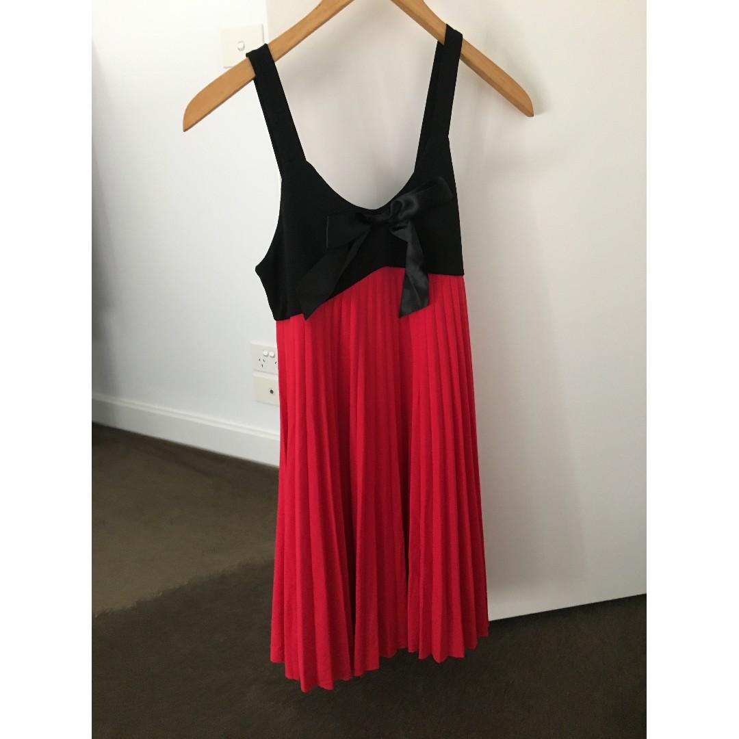 Black And Pink Chiffon Dress