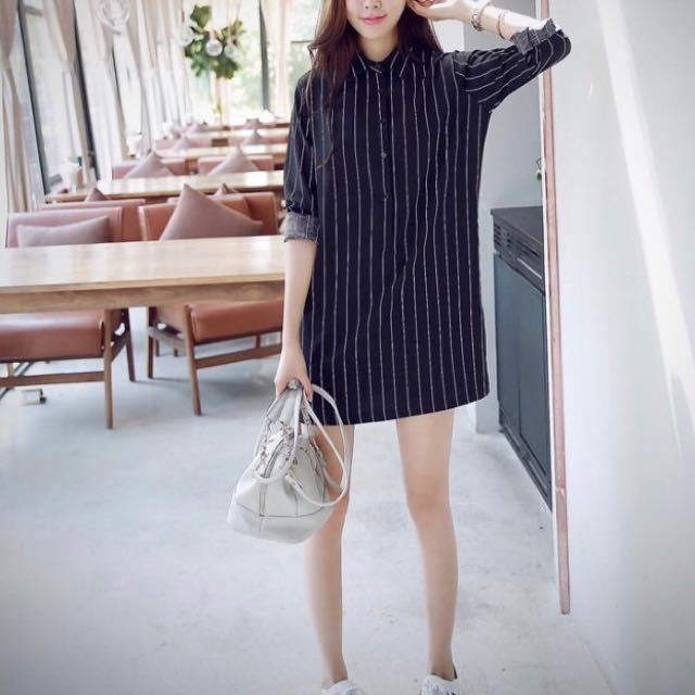 Black and white striped dress, size S