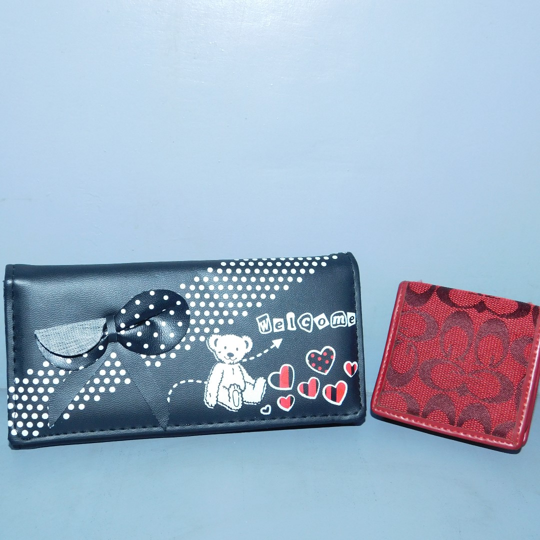 Black Bear Wallet with Red Coin Pouch