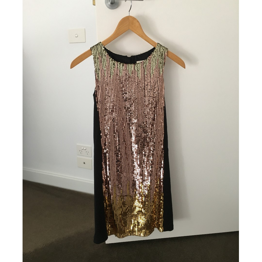 Black, Gold and Bronze Sequin Dress