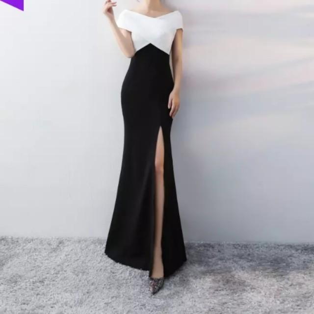 Black white dual tone open slit dress / evening gown, Women\'s ...