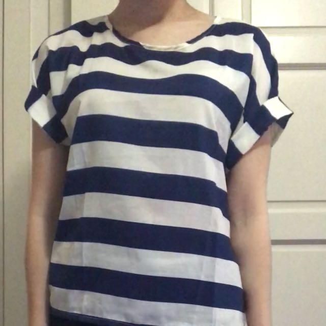 Blue And White Stripe Chiffon Top.