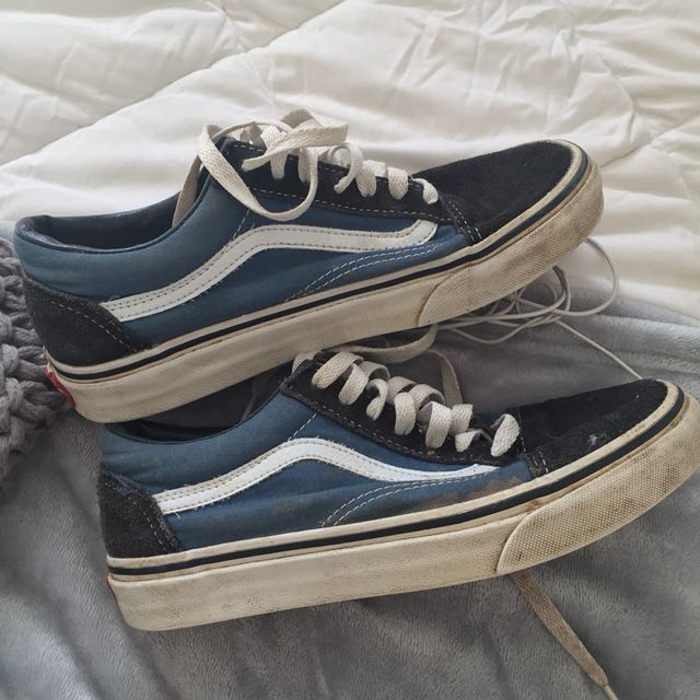 Blue and white vans shoes!!