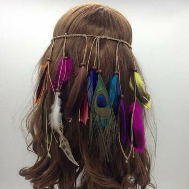 Bohemian Earrings And Garterized Feather Headdress