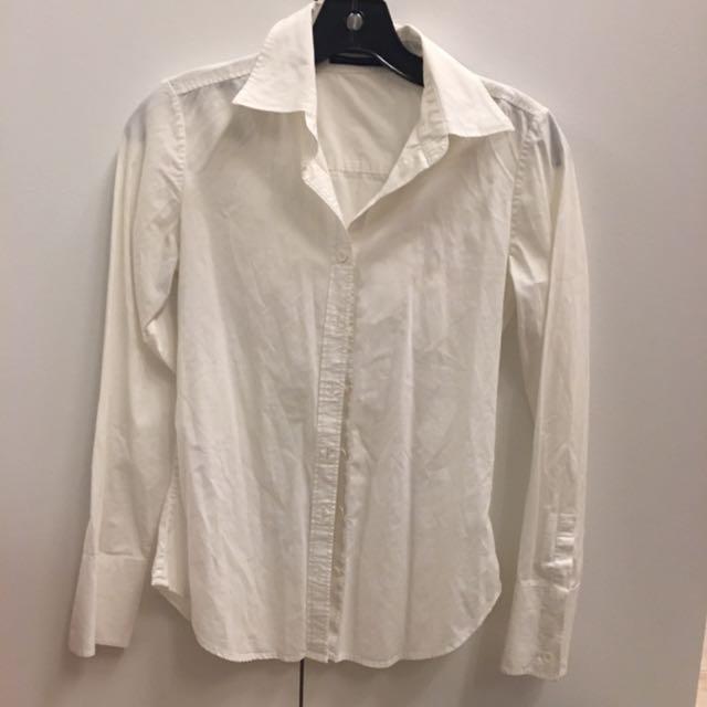 Club Monaco 白色純棉襯衫 上班經典不敗款