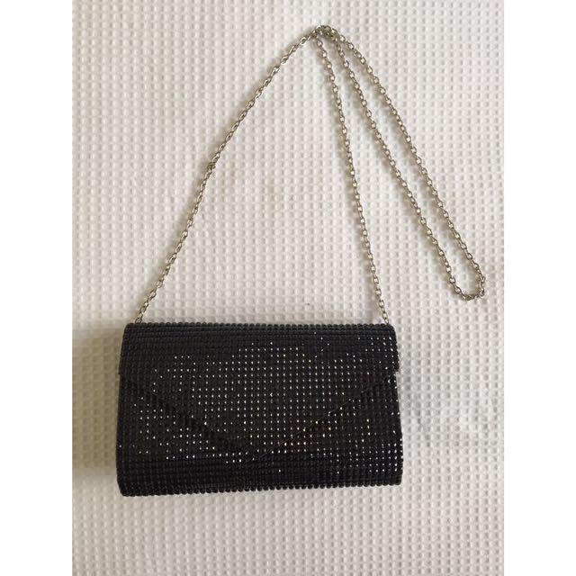 Colette Black Sequin/sparkle clutch bag with chain