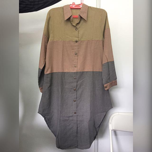 Colorblock Khaki Shirt