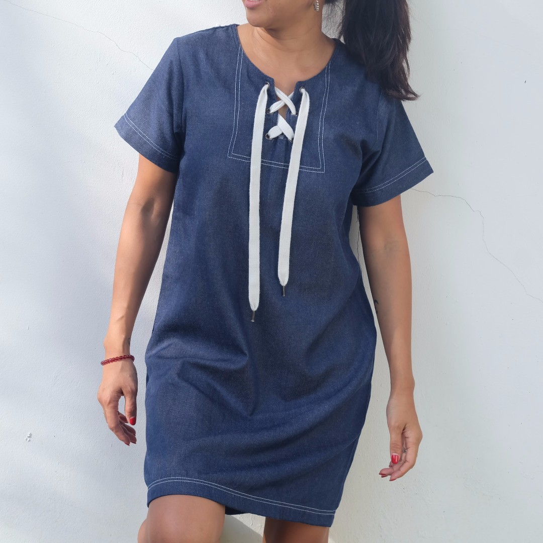 COTTON INK Blue Denim Casual Dress/Gaun