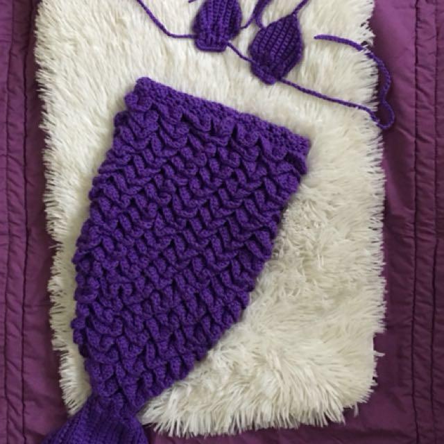 Crochet bikini top and mermaid tail