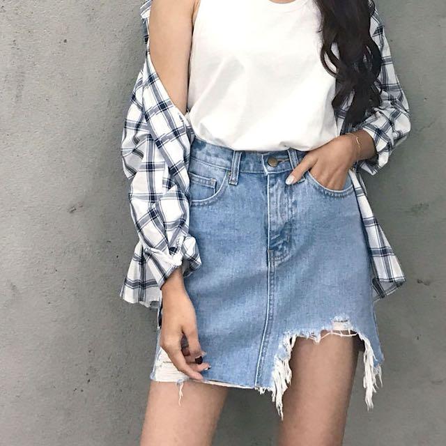 Cut off ripped denim skirt