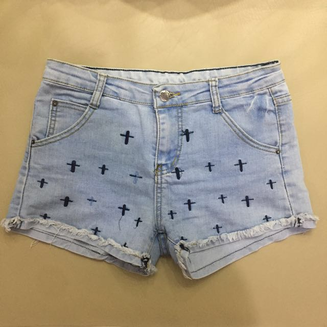 Denim Shorts with Cross Detail