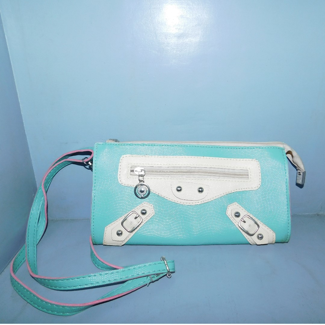 Green Clutch bag with Long Strap