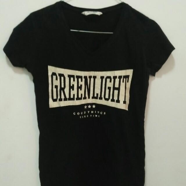greenlight black top shirt v neck