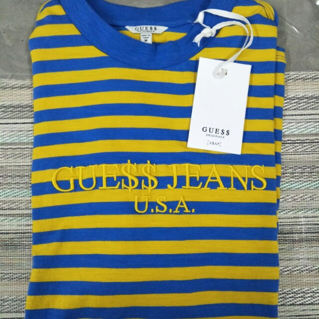 a5263e21fe44 Guess x asap rocky limited edition stripe tshirt original, Men's Fashion,  Clothes on Carousell