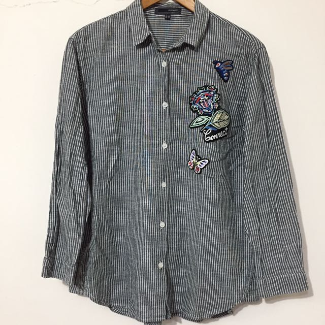 韓國H:CONNECT潤娥灰白條紋刺繡貼布棉麻長袖襯衫