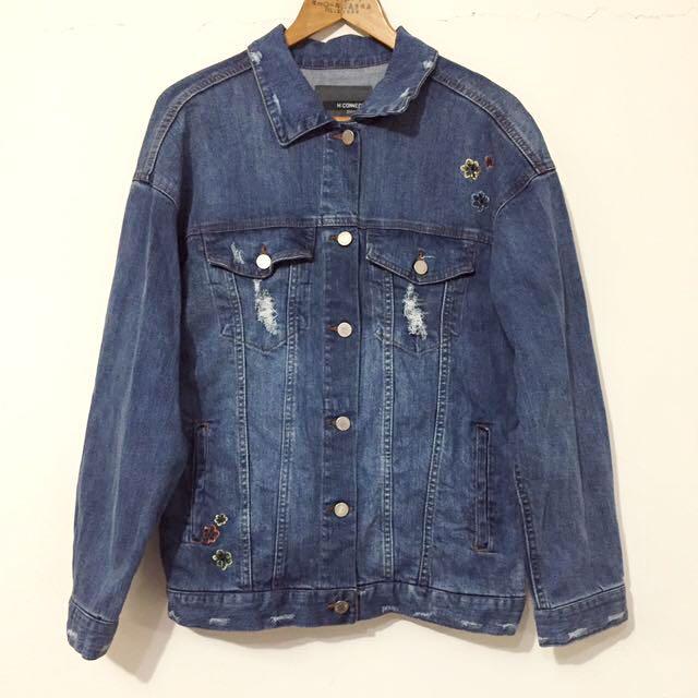 韓國H:CONNECT潤娥深藍色整片刺繡重磅oversize寬鬆長袖牛仔外套