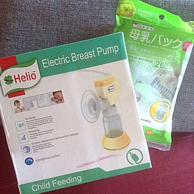 Helio Electric Breast Pump And Simba Standing Breastmilk Storage Bags
