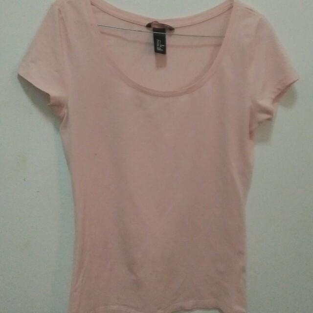 basic h&m divided pink and mint t-shirt